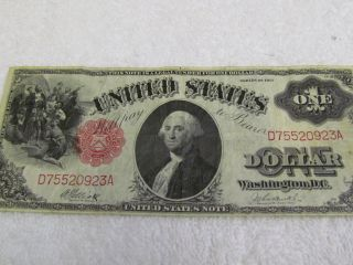 1917 Us Oversize $1 One Dollar Note Bill George Washington No Pin Hole photo