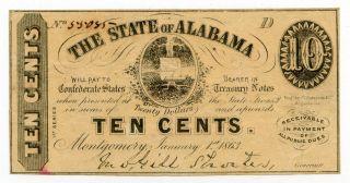 1863 State Of Alabama Confederate 10c Cent Note 38956 photo