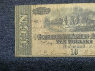 1864.  $10.  00.  Confederate Hand Signed No Damage In photo