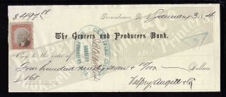 1874 The Grocer ' S And Producers Bank - Providence,  R.  I.  - C/w Revenue Stamp photo