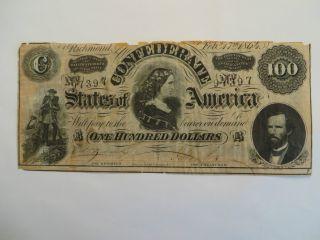 1864 $100 Confederate Note,  Richmond photo