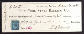 1878 York State Banking Co.  Syracuse,  York C/w Revenue photo