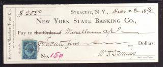 1878 York State Banking Co.  Syracuse,  York C/w Revenue photo