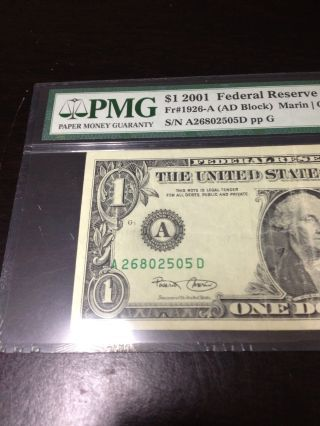 2001 $1 Boston (uncommon Shift To The Left) Misalignment Error Note Pmg 30 photo