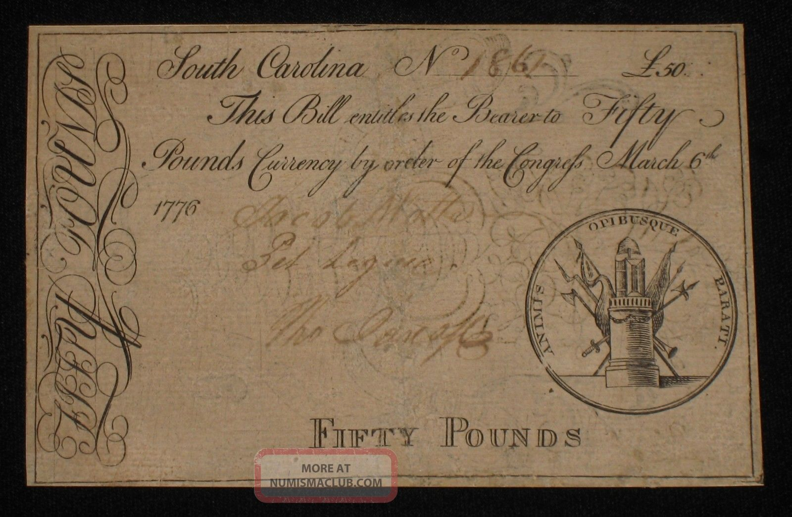 Us Sc Colonial Currency - 50 Pounds - Mar 6,  1776 Very Rare (cc - 122) Paper Money: US photo