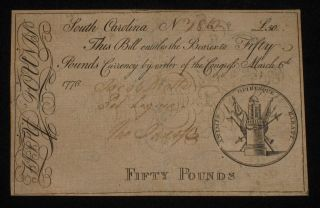 Us Sc Colonial Currency - 50 Pounds - Mar 6,  1776 Very Rare (cc - 122) photo