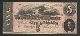 $5 Dollar Large 1864 Lincoln Assassination Confederate Us Csa Va Bill Currency photo