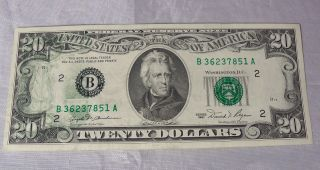 1981 20 Dollar Federal Reserve Note Error photo