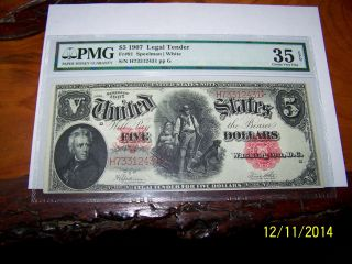 1907 $5.  00 Woodchopper Legal Tender Choice Very Fine 35 Epq Pmg photo
