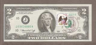 1976 J - $2.  00 Unc Miscut Eagle Stamp Note photo