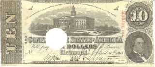 1863 Confederate States Of America,  $10 Note,  Cancelled 21 photo