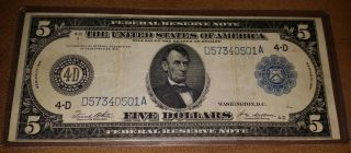 1914 Large Size Federal Reserve $5 Note D4 Cleveland D57340501a White/mellon photo