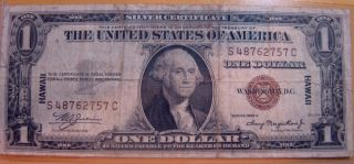 1935 - A $1 Hawaii Overprint,  Silver Certificate - S - C Block 2757c photo