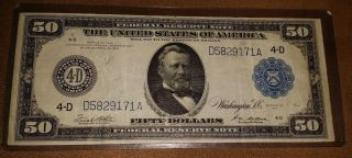 1914 Large Size Federal Reserve $50 Note D4 Cleveland D5829171a White/mellon photo