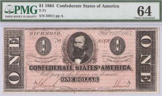 1864 Civil War $1 Dollar Csa Confederate T - 71 Pmg Choice Unc - 64 photo