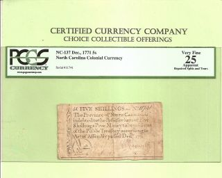 December 1771 Five Shillings North Carolina Colonial Currency Pcgs Very Fine 25 photo
