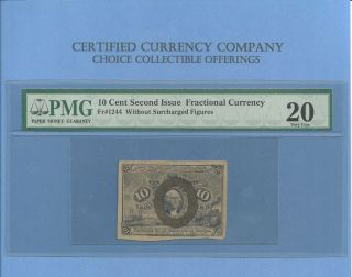 Fr 1244 - 10 Cents Washington Fractional Currency Second Issue Pmg Vf 20 photo