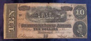 Confederate States $10 Dollar Bill,  Civil War/,  T - 68 / 15816 photo