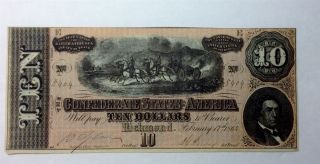 Confederate Currency - The Confederate States Of America 10 Dollar Bill From 1864 photo