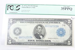 Fr.  871a 1914 $5 Large Size Federal Reserve Note Chicago Pcgs Vf 35 Ppq photo