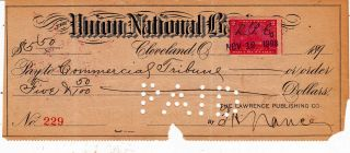 1898 Union National Bank Cleveland,  Ohio,  1898 With Revenue Stamp photo