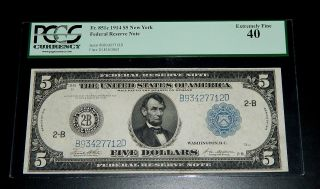 1914 $5 Federal Reserve Note - York - Pcgs 40 Extremely Fine photo