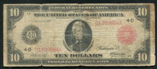 Fr.  895b 1914 $10 Red Seal Frn Federal Reserve Note Rare Only 65 Known photo
