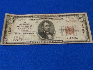 $5 Trenton Jersey Mechanics National Bank 1929 1327 National Currency photo