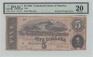 Braxton Bragg T - 69 $5 1864 Confederate States Of America Pmg Vf20 photo