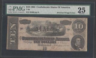 Braxton Bragg T - 68 $10 1864 Confederate States Of America Pmg Very Fine 25 photo