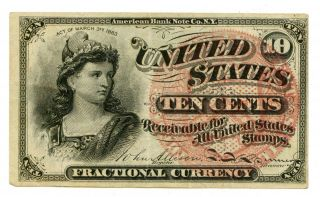 1863 U.  S.  10c Cent Fourth Issue Fractional Currency Note 37688 photo