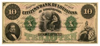 1860 ' S Citizens ' Bank Of Louisiana Shreve Port Obsolete $10 Currency Note 38070 photo