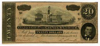 1864 Richmond Confederate States $20 Dollar Note 38192 photo