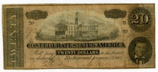 1864 Richmond Confederate States $20 Dollar Note 38197 photo