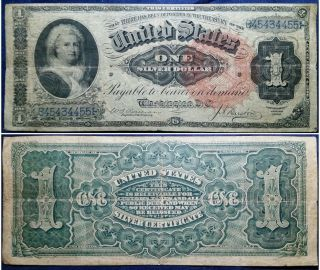 1886 $1 Fr.  218 Martha Washington Silver Certificate Large Size Currency Note photo