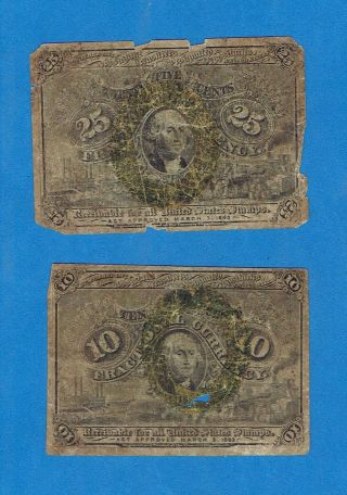 10 Cent And 25 Cent Fractional Currency 1863 photo