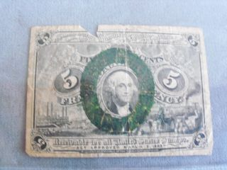 1863 Us Fractioal Note 5 Cents Civil War Note photo