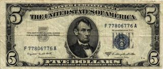 1953 - B $5.  00 United States Silver Certificate Fr 1657 F77806776a Vf photo