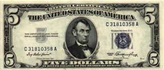 1953 $5.  00 United States Silver Certificate Fr 1655 C31810358a Xf/au photo