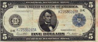 United States Series Of 1914 $5 Federal Reserve Large Note Silver Certificate photo