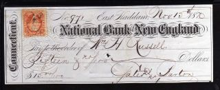 1870 National Bank Of England - East Haddon,  Connecticut - C/w Revenue Stamp photo