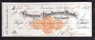 1879 - The Grocers And Producers Bank (black Check) - Providence,  R.  I. photo