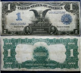 1899 $1 Black Eagle Silver Certificate Large Size Series Rare Currency Note photo