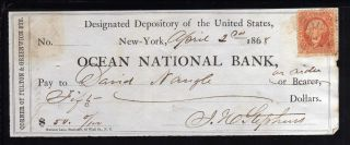 1868 Ocean National Bank - York - C/w Revenue Stamp photo