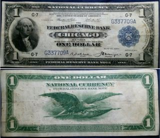 1918 $1 Vf Fr.  727 National Currency Large Size Chicago Federal Reserve Bank Note photo