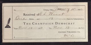1912 Champaign Democrat - Urbana,  Ohio photo