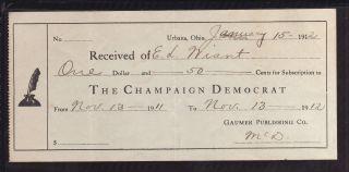 1912 Champaign Democrat - Urbana,  Ohio photo