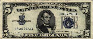 1934 - D $5.  00 United States Silver Certificate Fr 1654 U84047923a Xf photo