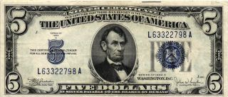 1934 - C $5.  00 United States Silver Certificate Fr 1653 L63322798a Xf photo