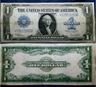 1923 $1 Large Size Silver Certificate One Dollar Bill Currency Banknote photo